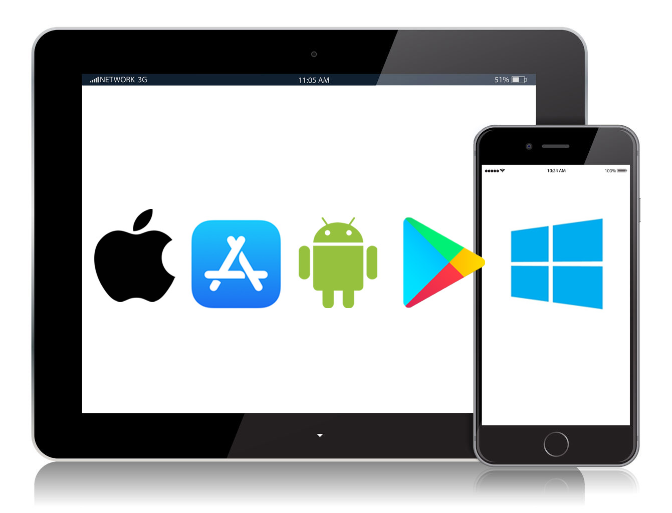 android apple microsoft logos
